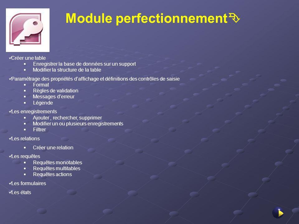 Module perfectionnement Créer une table Enregistrer la base de données sur un support Modifier la structure de la table Paramétrage des propriétés daf