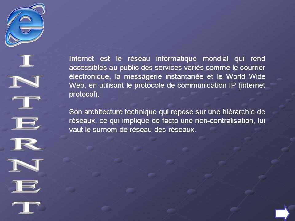 Internet est le réseau informatique mondial qui rend accessibles au public des services variés comme le courrier électronique, la messagerie instantan
