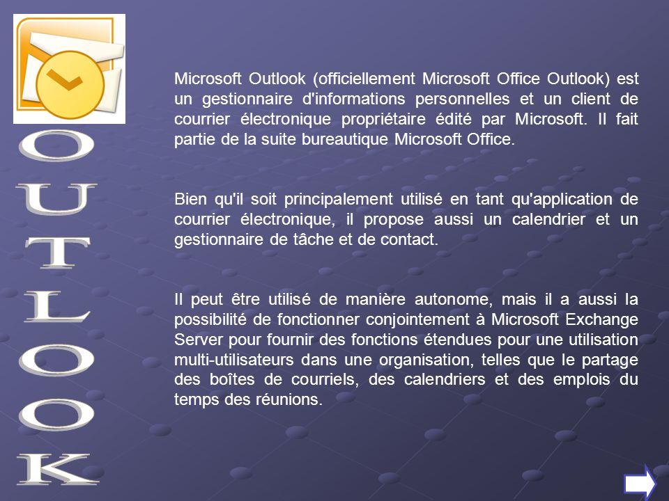 Microsoft Outlook (officiellement Microsoft Office Outlook) est un gestionnaire d'informations personnelles et un client de courrier électronique prop