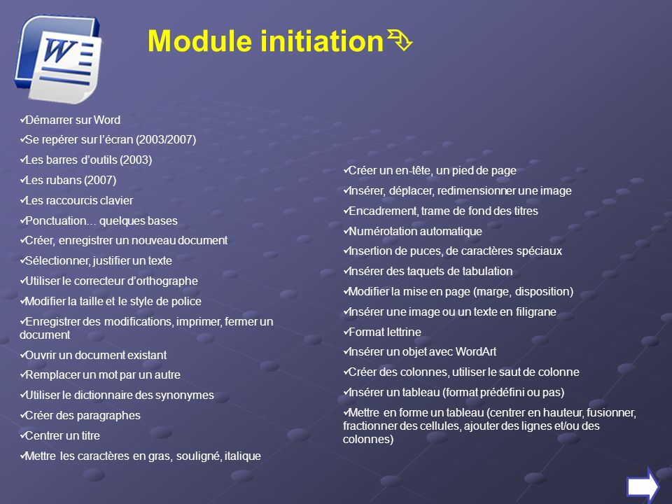 Module initiation Démarrer sur Word Se repérer sur lécran (2003/2007) Les barres doutils (2003) Les rubans (2007) Les raccourcis clavier Ponctuation…