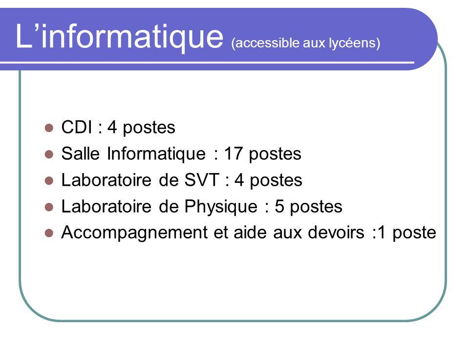 Linformatique (accessible aux lycéens) CDI : 4 postes Salle Informatique : 17 postes Laboratoire de SVT : 4 postes Laboratoire de Physique : 5 postes