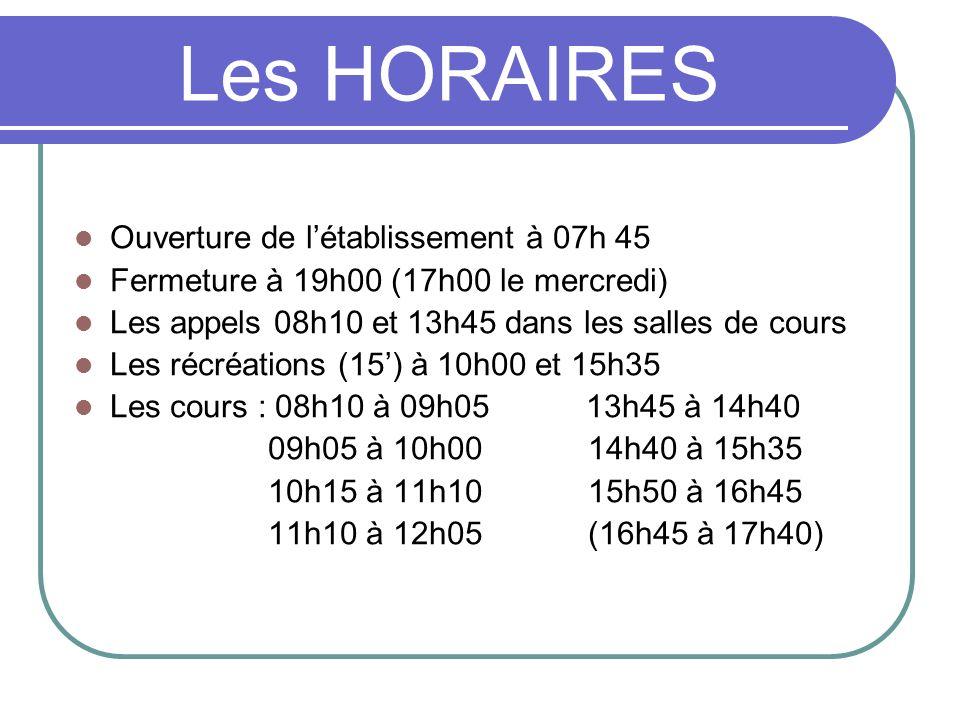 Les HORAIRES Ouverture de létablissement à 07h 45 Fermeture à 19h00 (17h00 le mercredi) Les appels 08h10 et 13h45 dans les salles de cours Les récréat
