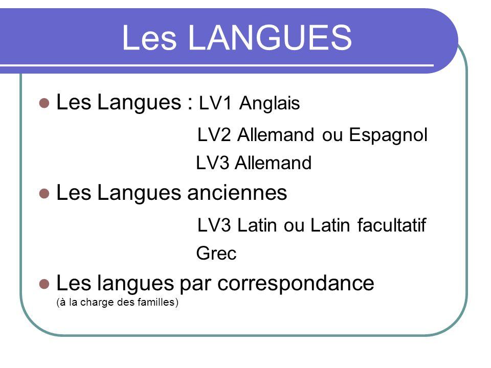 Les LANGUES Les Langues : LV1 Anglais LV2 Allemand ou Espagnol LV3 Allemand Les Langues anciennes LV3 Latin ou Latin facultatif Grec Les langues par c