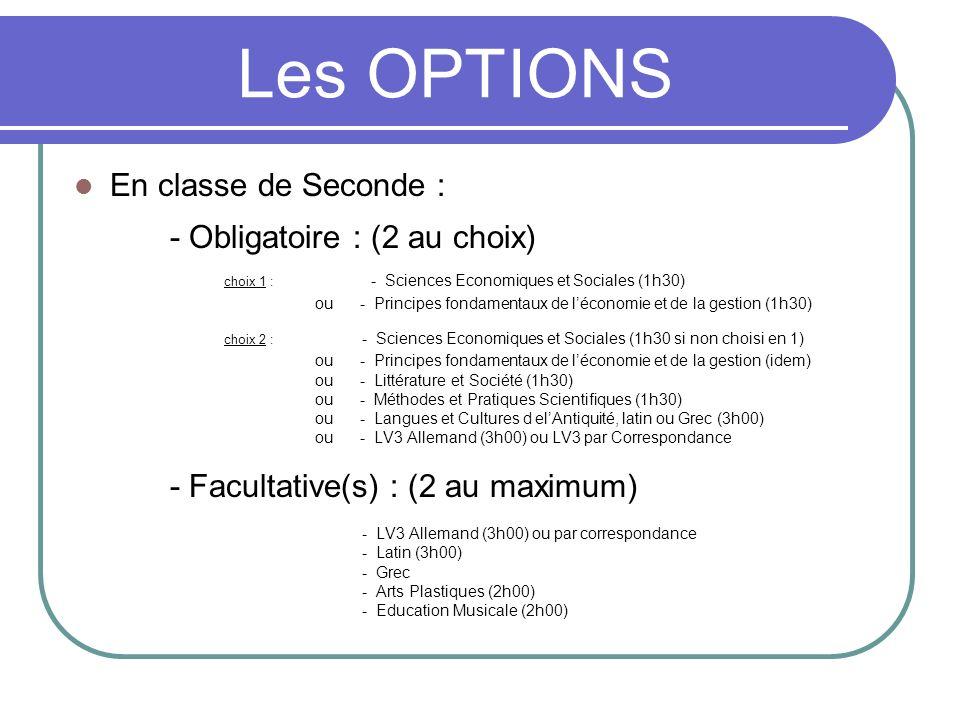 Les OPTIONS En classe de Seconde : - Obligatoire : (2 au choix) choix 1 : - Sciences Economiques et Sociales (1h30) ou - Principes fondamentaux de léc