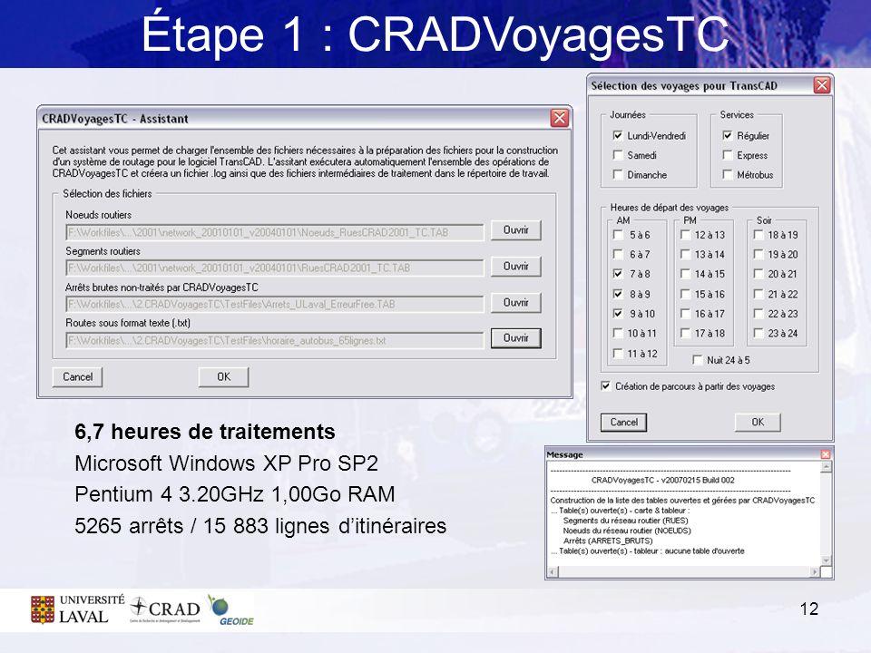 12 Étape 1 : CRADVoyagesTC 6,7 heures de traitements Microsoft Windows XP Pro SP2 Pentium 4 3.20GHz 1,00Go RAM 5265 arrêts / 15 883 lignes ditinéraire