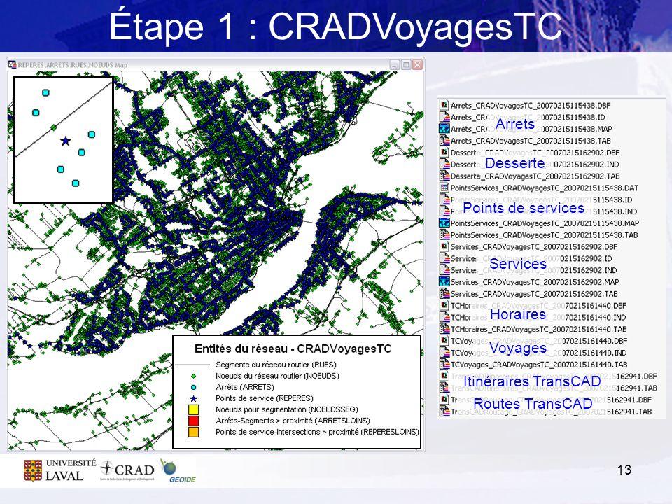 13 Étape 1 : CRADVoyagesTC Arrets Desserte Points de services Services Horaires Voyages Itinéraires TransCAD Routes TransCAD