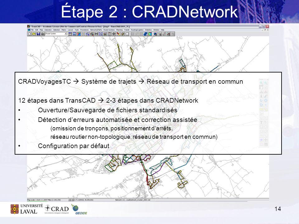 14 Étape 2 : CRADNetwork CRADVoyagesTC Système de trajets Réseau de transport en commun 12 étapes dans TransCAD 2-3 étapes dans CRADNetwork Ouverture/