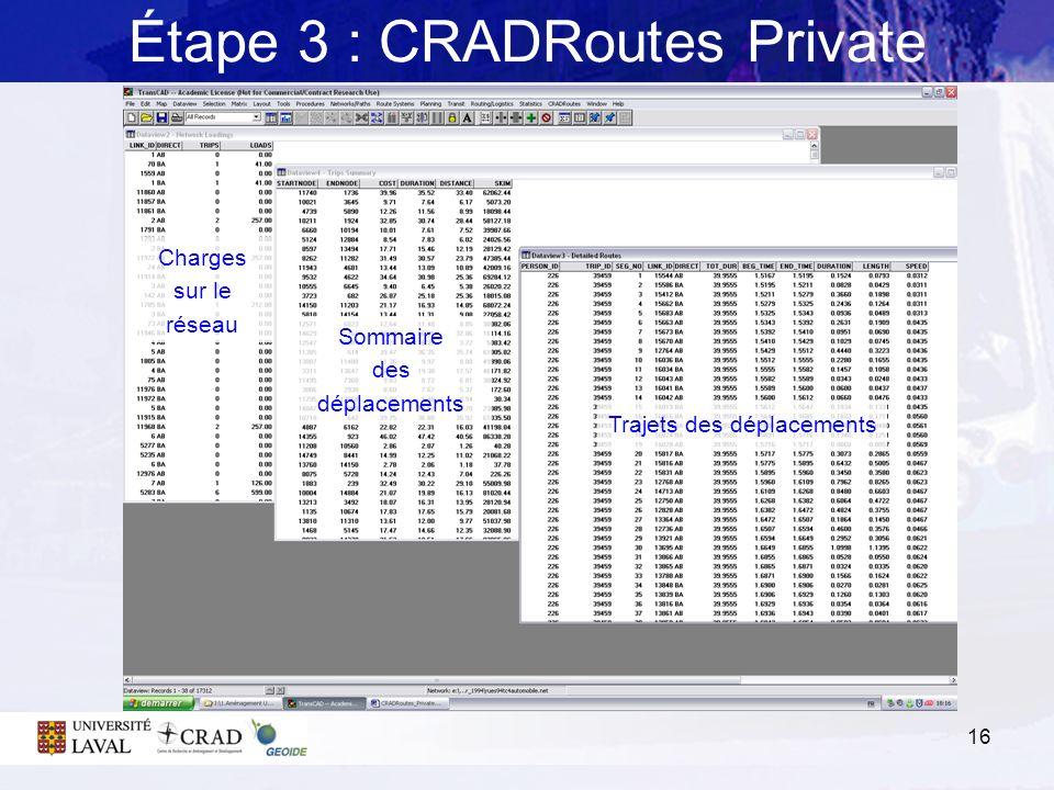16 Étape 3 : CRADRoutes Private Charges sur le réseau Sommaire des déplacements Trajets des déplacements