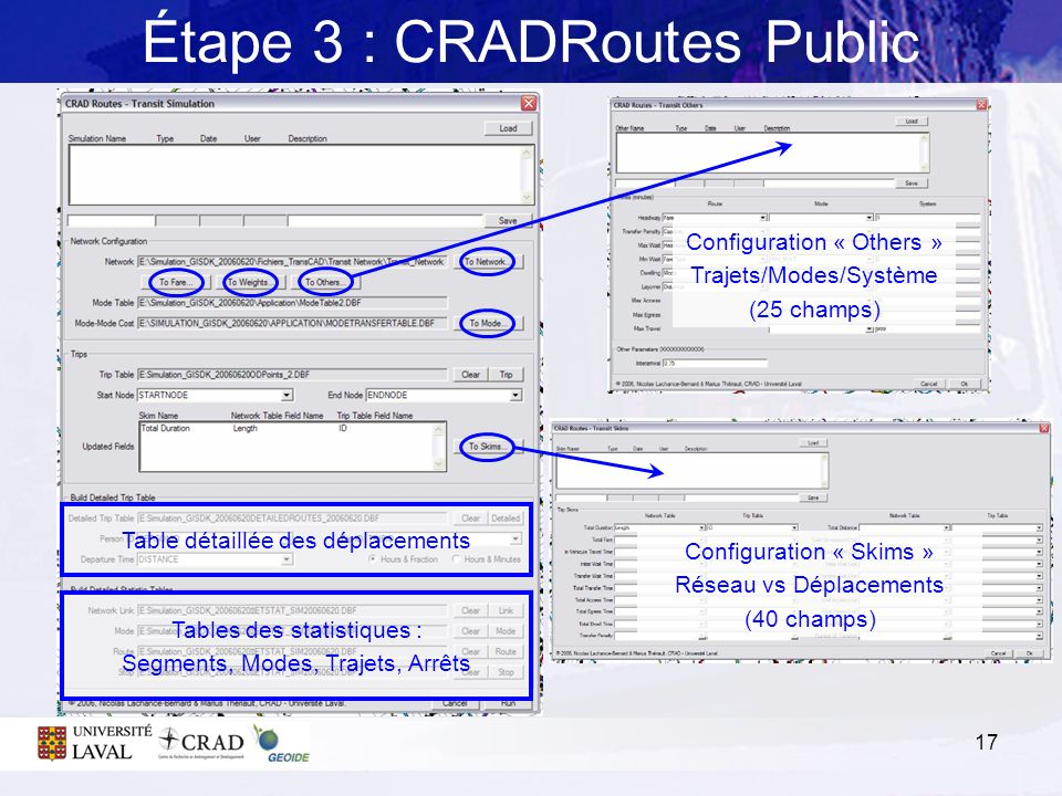 17 Étape 3 : CRADRoutes Public Table détaillée des déplacements Tables des statistiques : Segments, Modes, Trajets, Arrêts Configuration « Others » Tr
