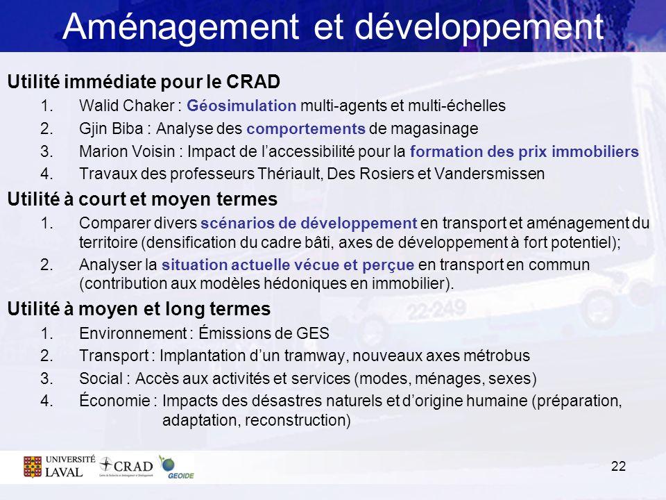 22 Aménagement et développement Utilité immédiate pour le CRAD 1.Walid Chaker : Géosimulation multi-agents et multi-échelles 2.Gjin Biba : Analyse des