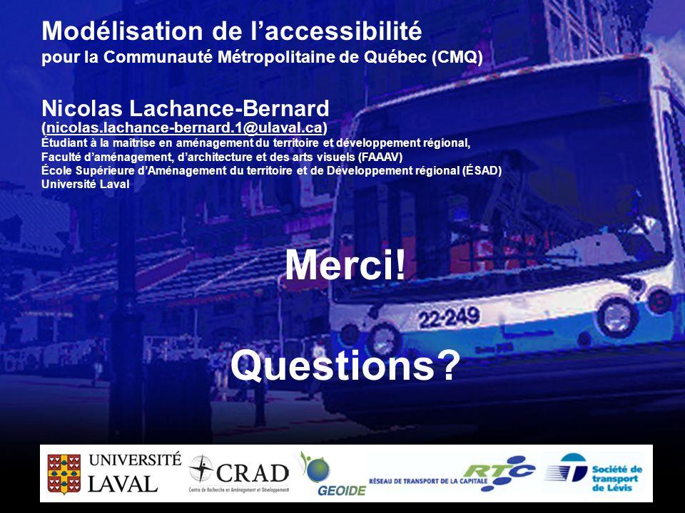 23 Merci! Questions? Modélisation de laccessibilité pour la Communauté Métropolitaine de Québec (CMQ) Nicolas Lachance-Bernard (nicolas.lachance-berna