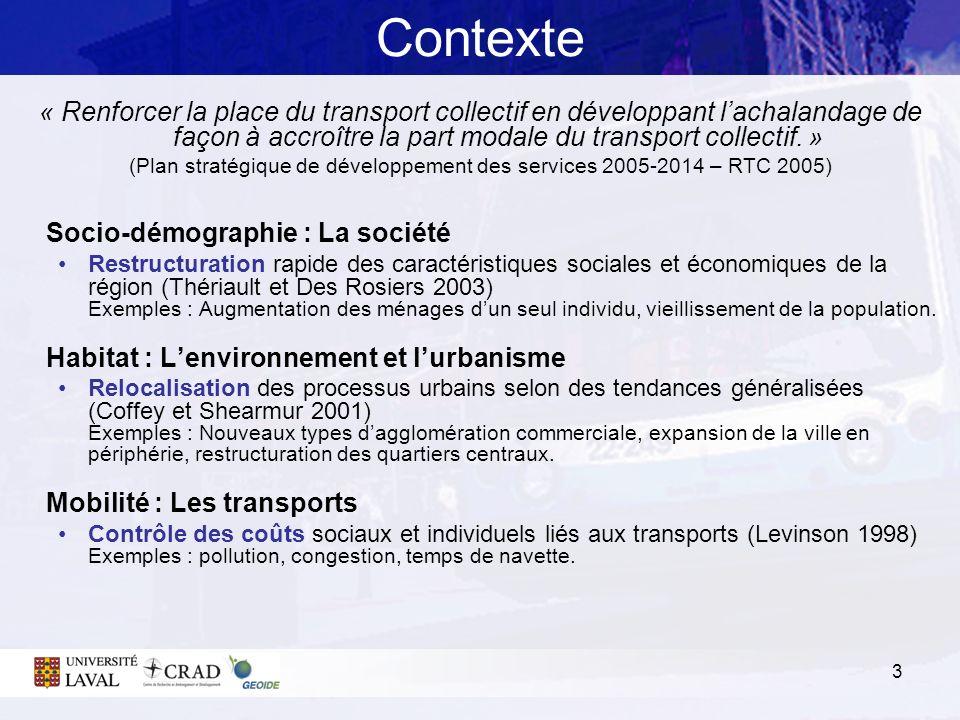 3 Contexte « Renforcer la place du transport collectif en développant lachalandage de façon à accroître la part modale du transport collectif. » (Plan