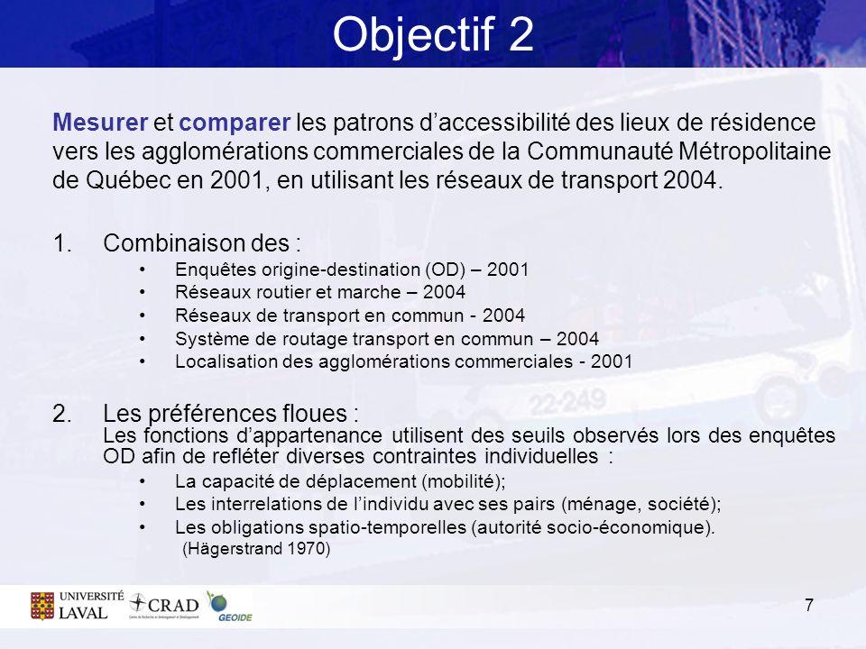 7 Objectif 2 Mesurer et comparer les patrons daccessibilité des lieux de résidence vers les agglomérations commerciales de la Communauté Métropolitain
