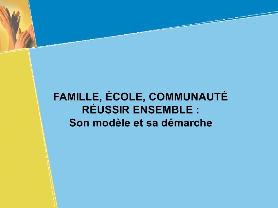 FAMILLE, ÉCOLE, COMMUNAUTÉ RÉUSSIR ENSEMBLE : Son modèle et sa démarche
