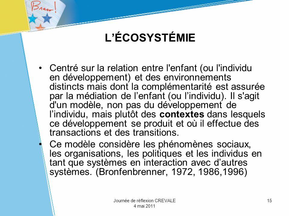 15 LÉCOSYSTÉMIE Centré sur la relation entre l'enfant (ou l'individu en développement) et des environnements distincts mais dont la complémentarité es