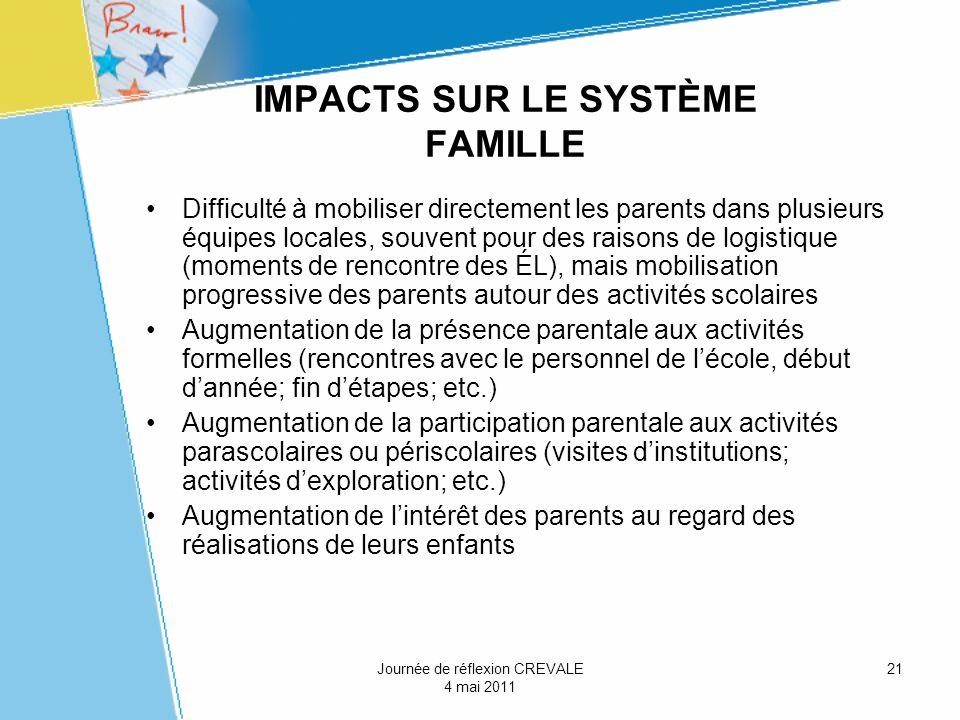 21 IMPACTS SUR LE SYSTÈME FAMILLE Difficulté à mobiliser directement les parents dans plusieurs équipes locales, souvent pour des raisons de logistiqu