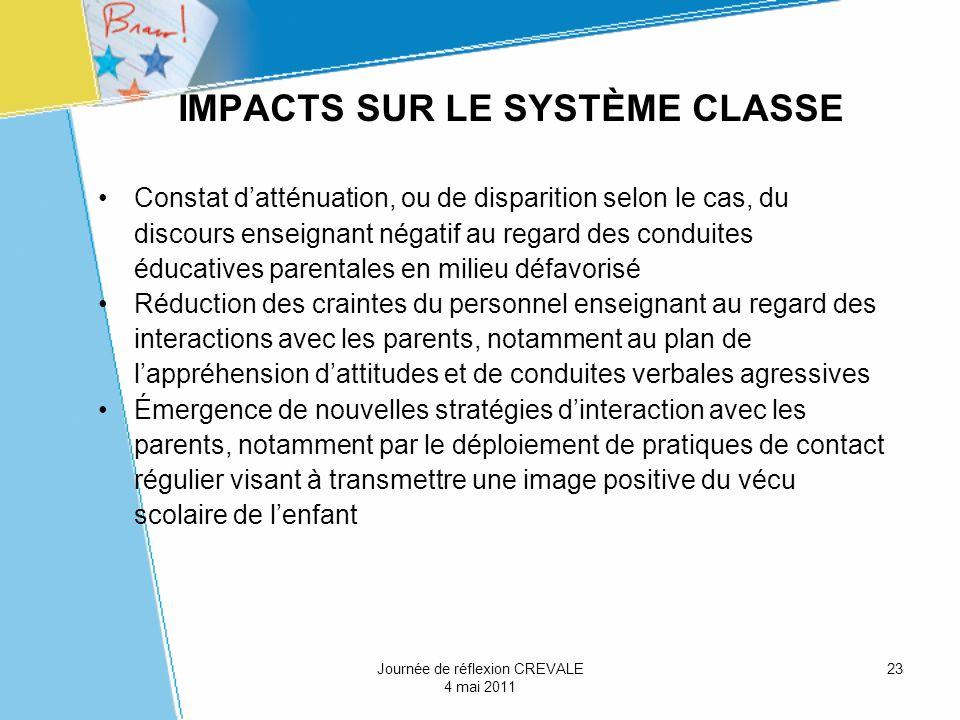 23 IMPACTS SUR LE SYSTÈME CLASSE Constat datténuation, ou de disparition selon le cas, du discours enseignant négatif au regard des conduites éducativ