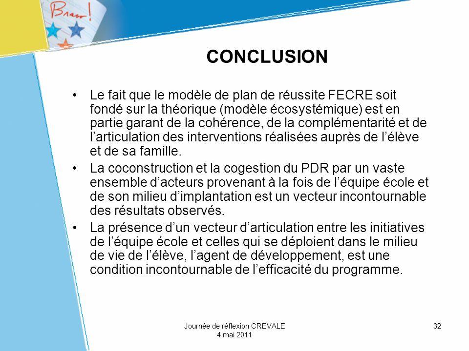 32 CONCLUSION Le fait que le modèle de plan de réussite FECRE soit fondé sur la théorique (modèle écosystémique) est en partie garant de la cohérence,