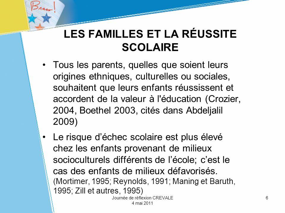 6 LES FAMILLES ET LA RÉUSSITE SCOLAIRE Tous les parents, quelles que soient leurs origines ethniques, culturelles ou sociales, souhaitent que leurs en
