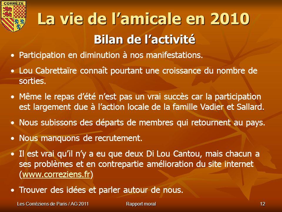Les Corréziens de Paris / AG 2011 Rapport moral 11 Nuit Arverne : Pastourelles 2011 La vie de lamicale en 2010 Pastourelle de la Ligue : Melody Pomier