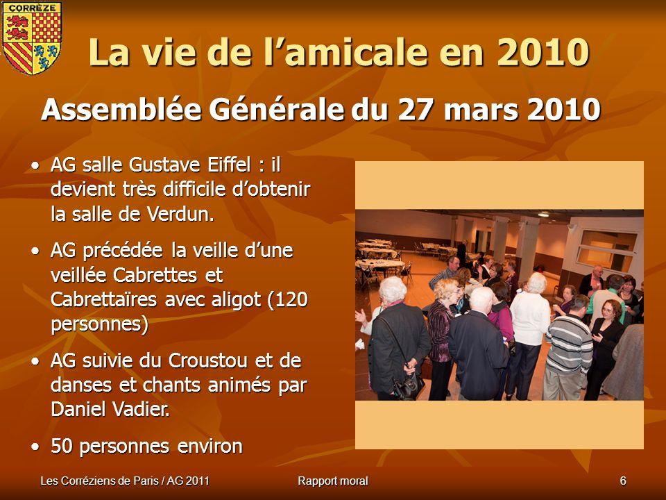 Les Corréziens de Paris / AG 2011 Rapport moral 5 Banquet du 14 mars 2010 La vie de lamicale en 2010 Président : Raymond Trébuchon, président de la Ligue Auvergnate.Président : Raymond Trébuchon, président de la Ligue Auvergnate.