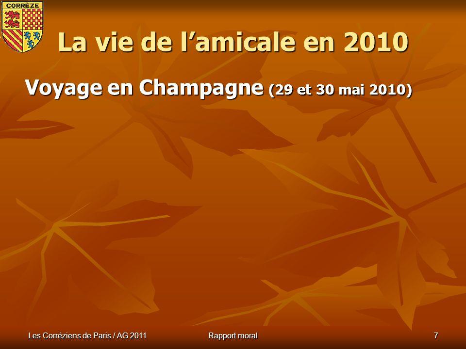 Les Corréziens de Paris / AG 2011 Rapport moral 6 Assemblée Générale du 27 mars 2010 La vie de lamicale en 2010 AG salle Gustave Eiffel : il devient t