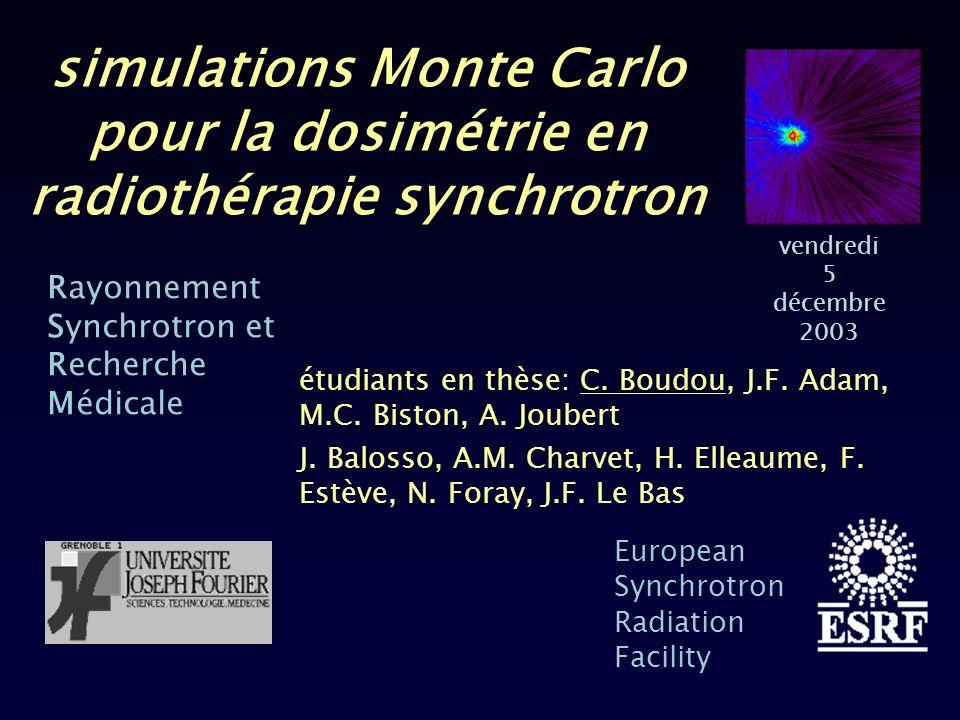05/12/2003- simulations Monte Carlo pour la dosimétrie tumeurs cérébrales épidémiologie : – 10 cas/100 000 personnes/an – 65% sont des gliomes tumeurs de haut grade: mauvais pronostic 6 moins déspérance de vie dans 50% des cas radiothérapie (MeV) – 50 Gy dans la zone tumorale (fractions) – limitation: tolérance des tissus sains