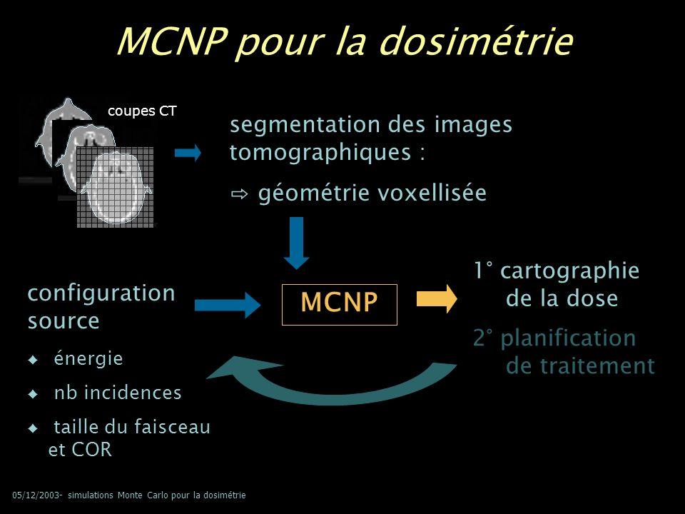 05/12/2003- simulations Monte Carlo pour la dosimétrie MCNP pour la dosimétrie MCNP 1° cartographie de la dose segmentation des images tomographiques