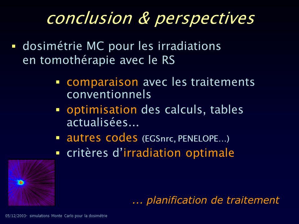 05/12/2003- simulations Monte Carlo pour la dosimétrie dosimétrie MC pour les irradiations en tomothérapie avec le RS comparaison avec les traitements