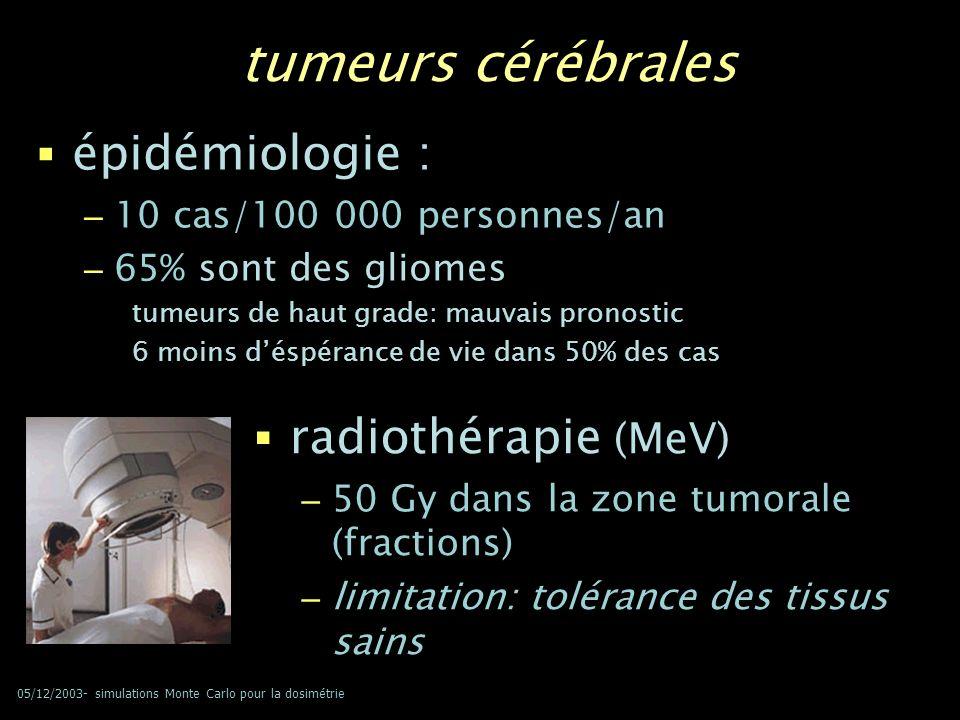 05/12/2003- simulations Monte Carlo pour la dosimétrie tumeurs cérébrales épidémiologie : – 10 cas/100 000 personnes/an – 65% sont des gliomes tumeurs
