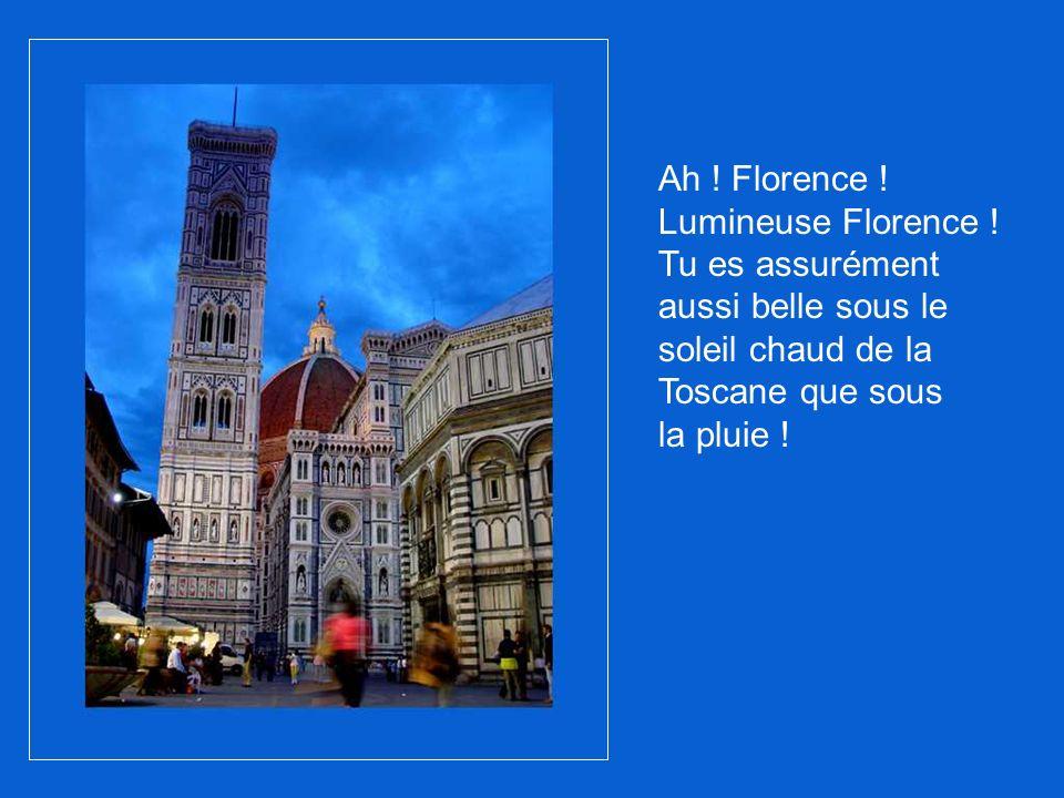 Avec ses nombreux beffrois gothiques et son architecture de la Renaissance, Florence est magnifique.
