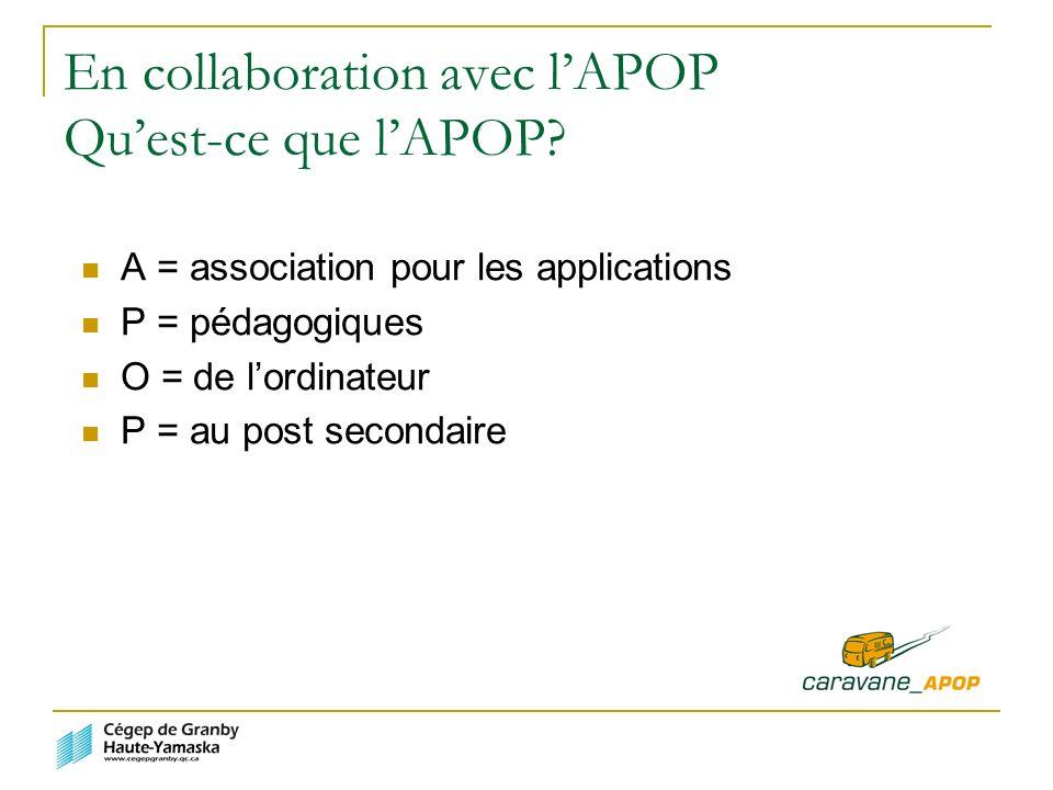 En collaboration avec lAPOP Quest-ce que lAPOP.