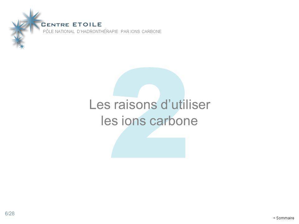 6 2 Les raisons dutiliser les ions carbone PÔLE NATIONAL DHADRONTHÉRAPIE PAR IONS CARBONE < Sommaire 6/28