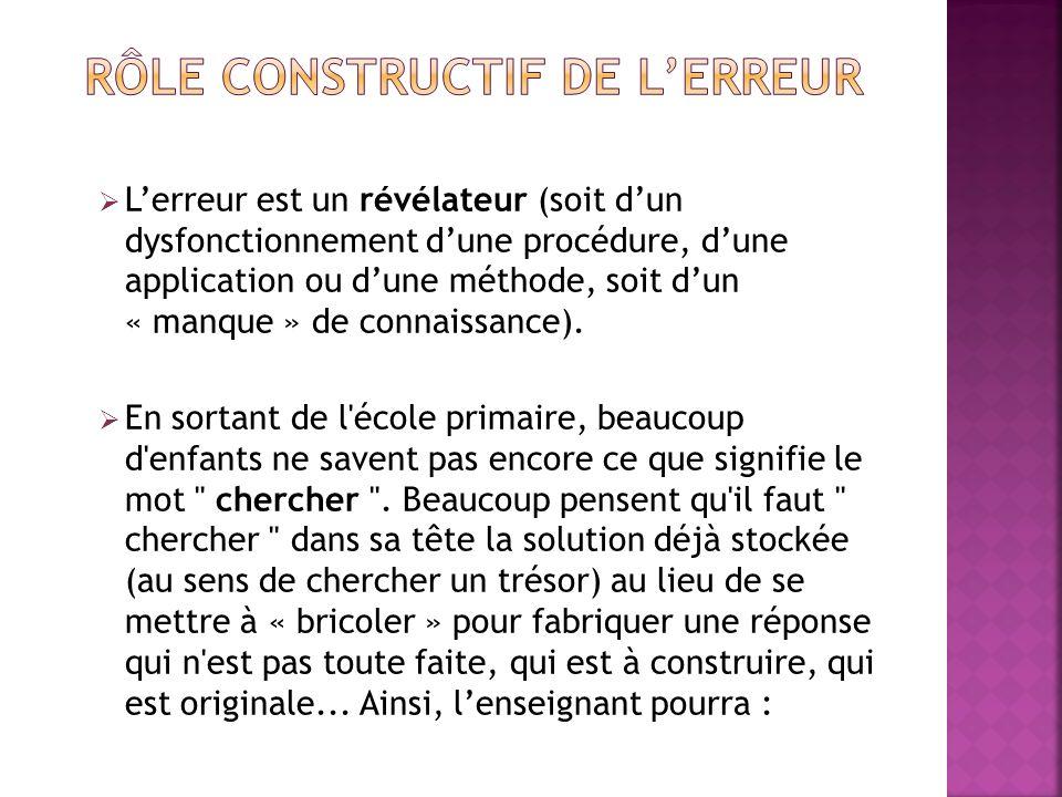 Lerreur est un révélateur (soit dun dysfonctionnement dune procédure, dune application ou dune méthode, soit dun « manque » de connaissance). En sorta