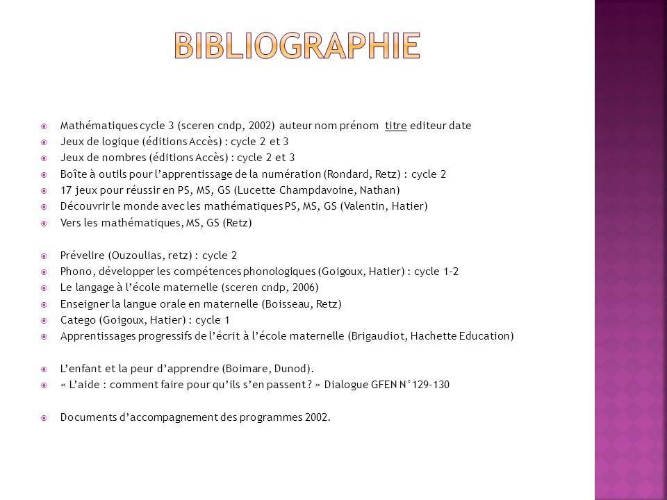 Mathématiques cycle 3 (sceren cndp, 2002) auteur nom prénom titre editeur date Jeux de logique (éditions Accès) : cycle 2 et 3 Jeux de nombres (éditio