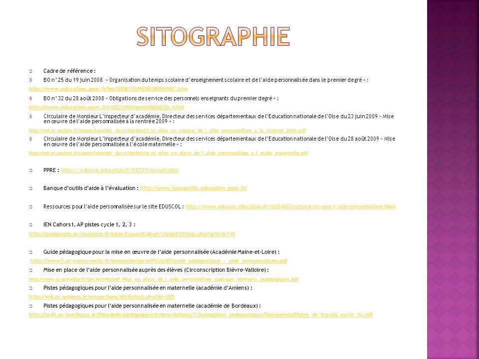 Cadre de référence : BO n°25 du 19 juin 2008 « Organisation du temps scolaire denseignement scolaire et de laide personnalisée dans le premier degré »