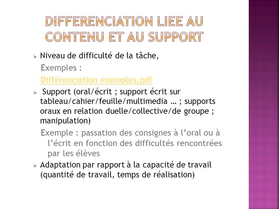 Niveau de difficulté de la tâche, Exemples : Différenciation exemples.pdf Support (oral/écrit ; support écrit sur tableau/cahier/feuille/multimedia …