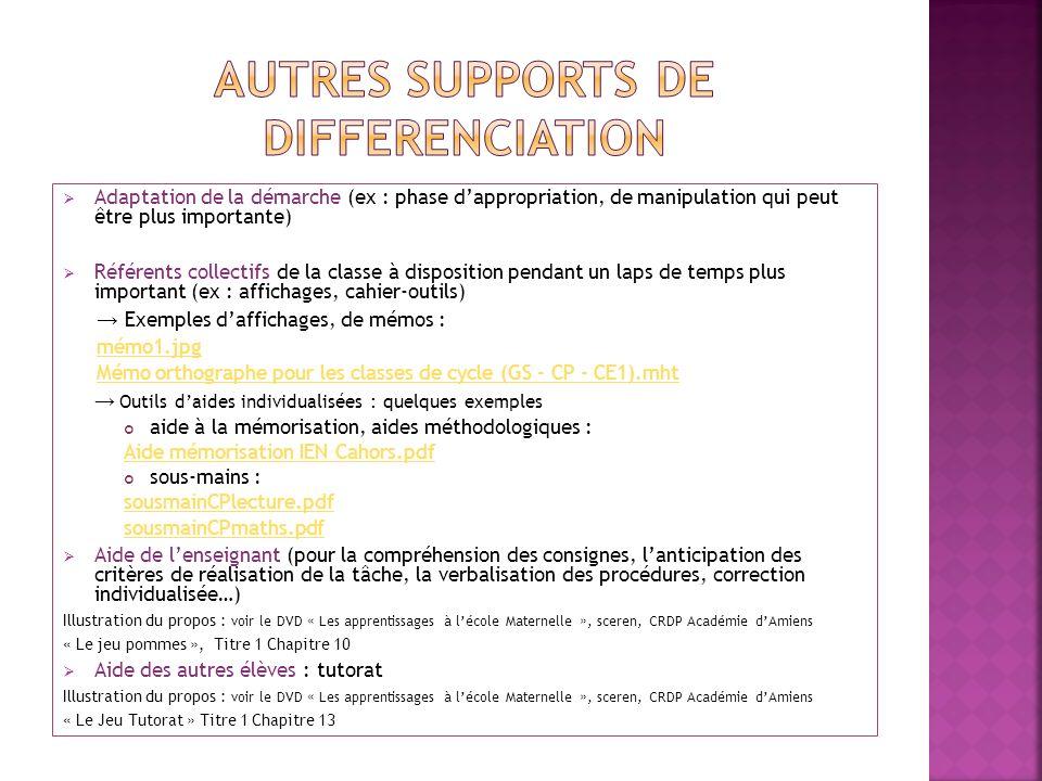 Adaptation de la démarche (ex : phase dappropriation, de manipulation qui peut être plus importante) Référents collectifs de la classe à disposition p