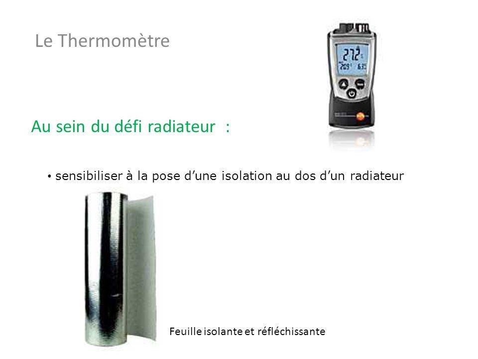 Le Thermomètre Au sein du défi radiateur : sensibiliser à la pose dune isolation au dos dun radiateur Feuille isolante et réfléchissante