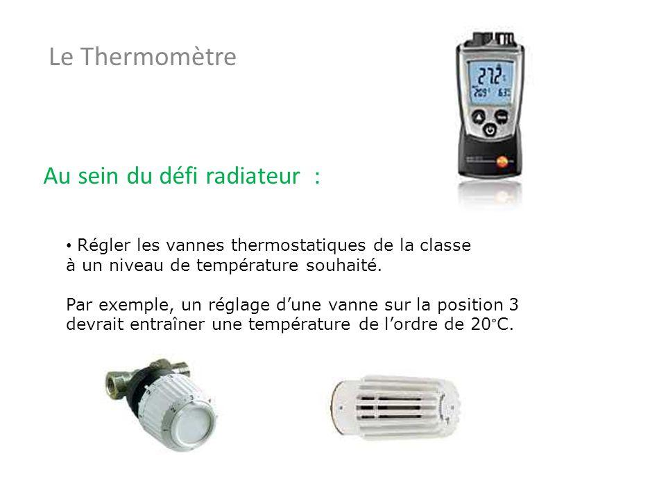 Le Thermomètre Au sein du défi radiateur : Régler les vannes thermostatiques de la classe à un niveau de température souhaité. Par exemple, un réglage