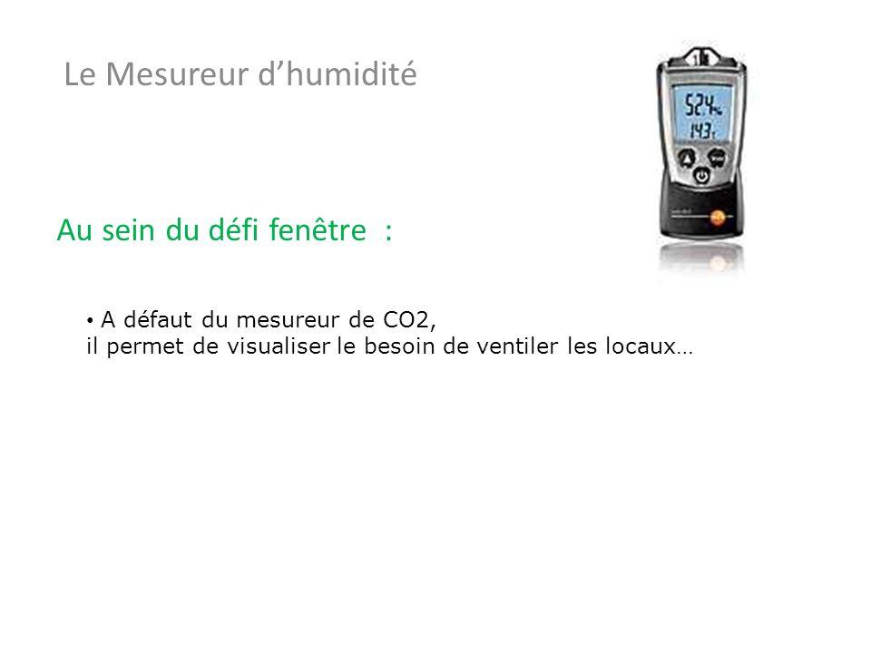 Le Mesureur dhumidité Au sein du défi fenêtre : A défaut du mesureur de CO2, il permet de visualiser le besoin de ventiler les locaux…
