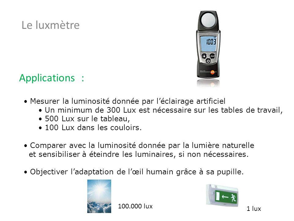 Mesurer la luminosité donnée par léclairage artificiel Un minimum de 300 Lux est nécessaire sur les tables de travail, 500 Lux sur le tableau, 100 Lux