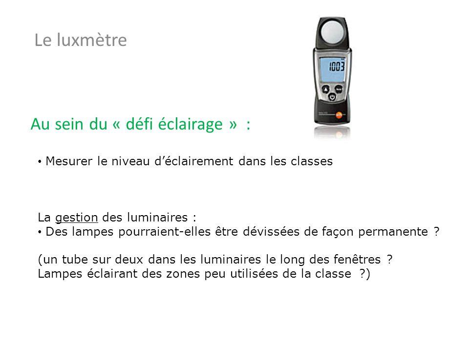 Mesurer le niveau déclairement dans les classes La gestion des luminaires : Des lampes pourraient-elles être dévissées de façon permanente ? (un tube