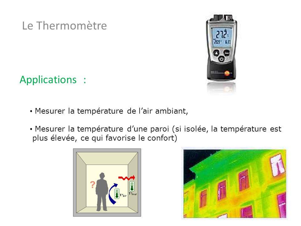 Le Thermomètre Applications : Mesurer la température de lair ambiant, Mesurer la température dune paroi (si isolée, la température est plus élevée, ce