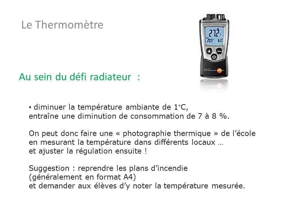 Le Thermomètre Au sein du défi radiateur : diminuer la température ambiante de 1°C, entraîne une diminution de consommation de 7 à 8 %. On peut donc f
