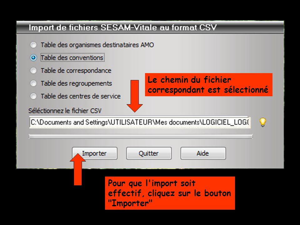 Le chemin du fichier correspondant est sélectionné Pour que l'import soit effectif, cliquez sur le bouton