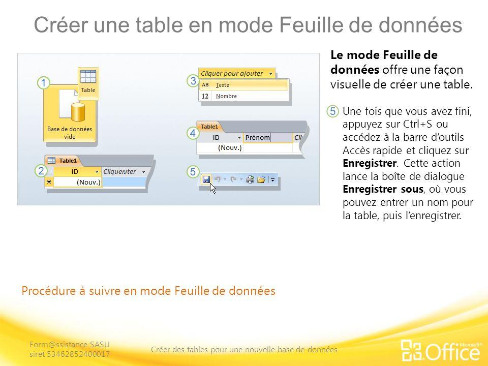 Créer une table en mode Feuille de données Procédure à suivre en mode Feuille de données Le mode Feuille de données offre une façon visuelle de créer une table.