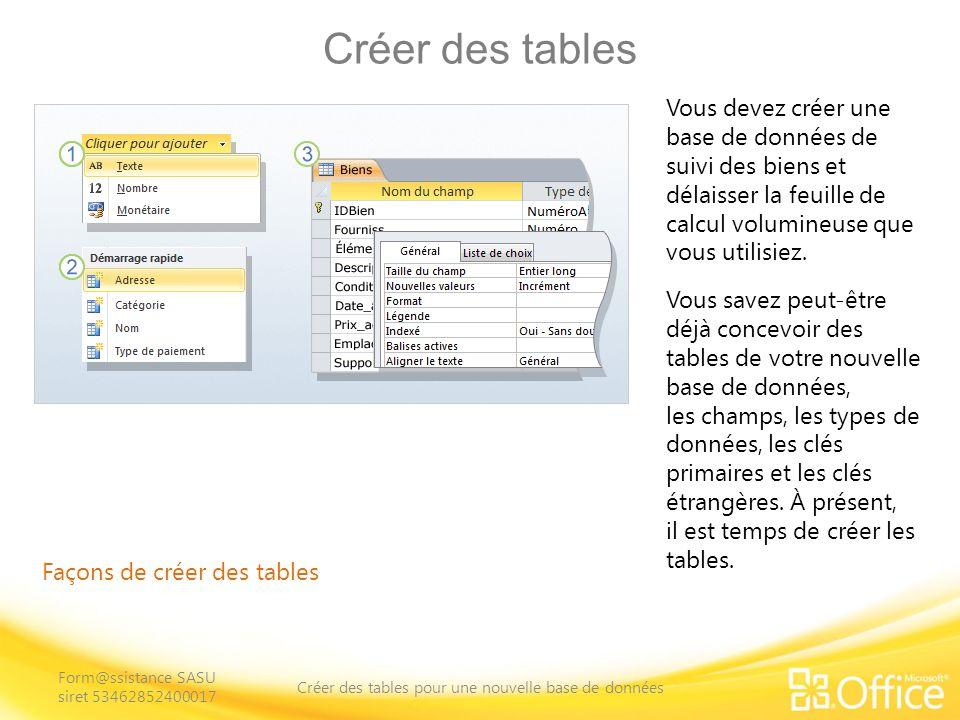 Créer des tables Façons de créer des tables Vous devez créer une base de données de suivi des biens et délaisser la feuille de calcul volumineuse que vous utilisiez.