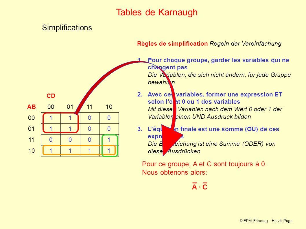 Simplifications CD AB00011110 001100 011100 110001 101111 Tables de Karnaugh 1.Pour chaque groupe, garder les variables qui ne changent pas Die Variab