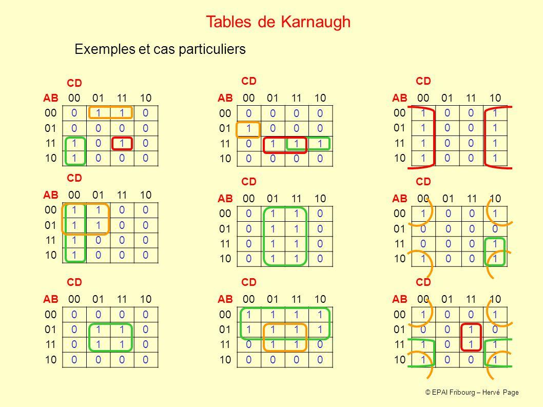 Exemples et cas particuliers Tables de Karnaugh CD AB00011110 000110 010000 111010 101000 CD AB00011110 001100 011100 111000 101000 CD AB00011110 0000